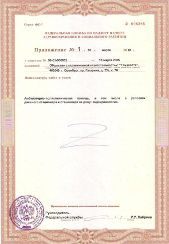 Приложение номер 1 к лицензии