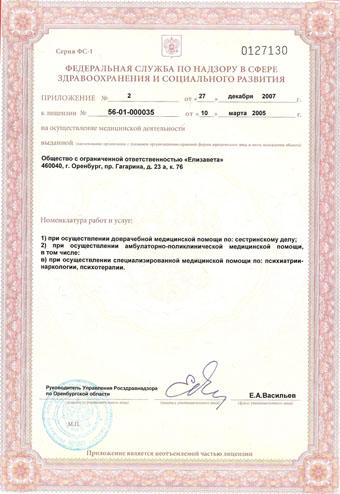 Приложение номер 2 к лицензии